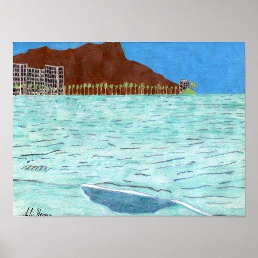 Waikiki Beach And Diamond Head by Julia Hanna Posters