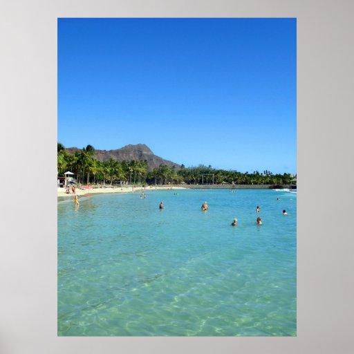 Waikiki Beach and Diamond Head Crater, Hawaii Print