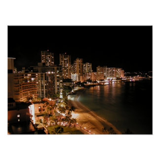 Waikiki Beach at Night Poster
