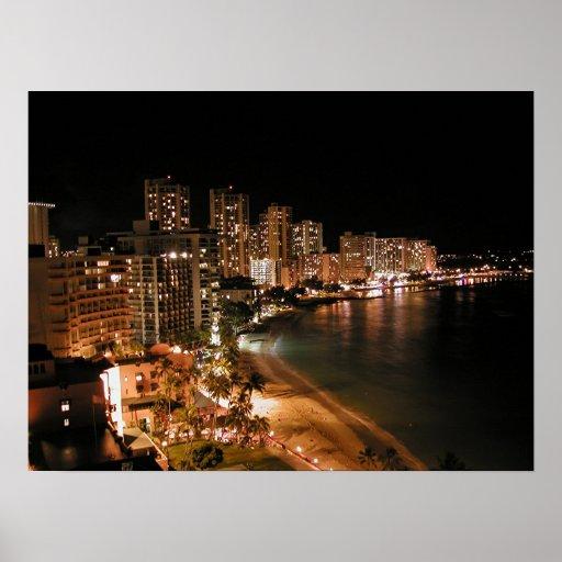 Waikiki Beach at Night Posters