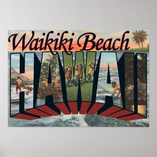 Waikiki Beach, Hawaii - Large Letter Scenes Posters