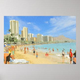 Waikiki Beach Honolulu Hawaii - Fine Art Print