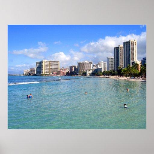 Waikiki Beach, Oahu, Hawaii Poster