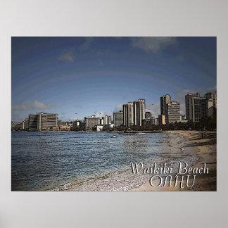 Waikiki Beach Oahu hawaiian scenic poster