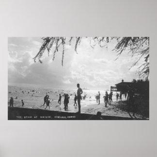 Waikiki Beach Scene at Honolulu Poster