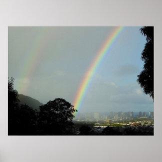 Waikiki Double Rainbow Poster