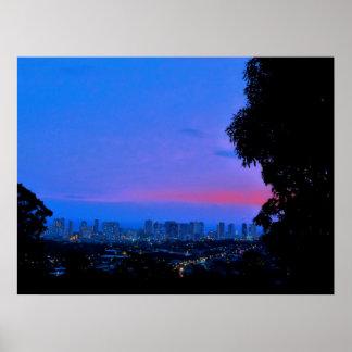Waikiki Evening Lights Poster