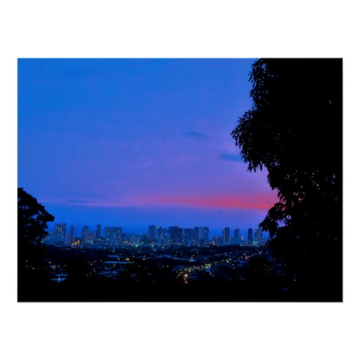 Waikiki Evening Lights Print