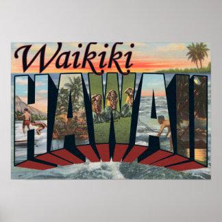Waikiki, Hawaii - Large Letter Scenes Poster