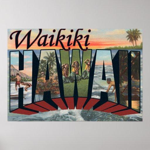 Waikiki, Hawaii - Large Letter Scenes Posters
