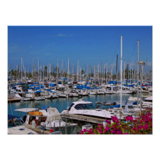 Waikiki Yacht Harbor Poster