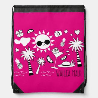 """Wailea Maui"" Bag Drawstring Bags"
