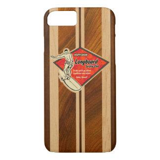 Waimea Surfboard Hawaiian Faux Koa Wood Red iPhone 8/7 Case