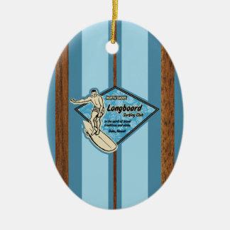 Waimea Surfboard Hawaiian Faux Wood Christmas Ornament
