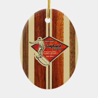 Waimea Surfboard Hawaiian Faux Wood Christmas Ornament