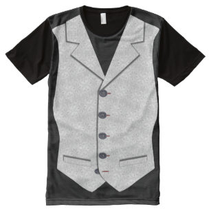 Waistcoat Image In Grey White Brocade Texture All-Over Print T-Shirt