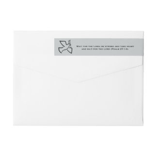 Wait for the Lord Scripture Personalized Gray Wraparound Return Address Label