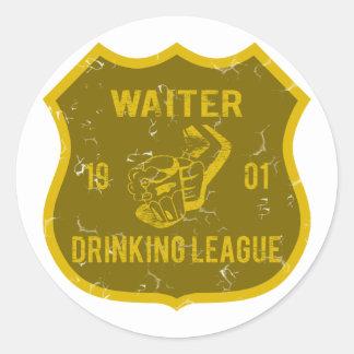 Waiter Drinking League Round Sticker