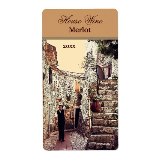 waiter in an old town wine label shipping label