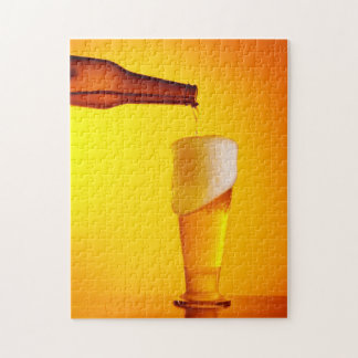Waiter pouring beer, glass of a cold drink puzzles