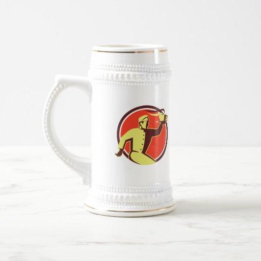 Waiter Serving Coffee Cup Retro Mugs