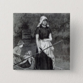 Waiting for Father, from 'Leisure Hour', 1888 15 Cm Square Badge