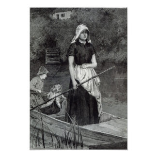 Waiting for Father, from 'Leisure Hour', 1888 Poster