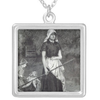 Waiting for Father, from 'Leisure Hour', 1888 Silver Plated Necklace