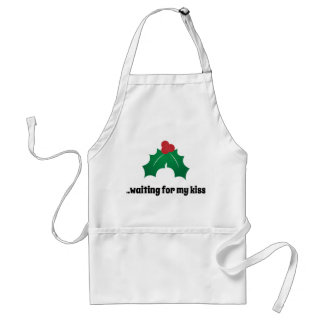Waiting for My Kiss Funny Mistletoe Standard Apron