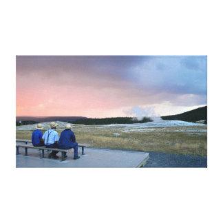 Waiting for Old Faithful Geyser at Sunset Canvas Print