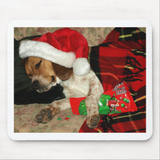 Waiting for Santa- Christmas Beagle dog mousepad
