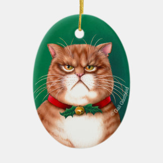 Waiting for Santa Claws Ceramic Oval Decoration
