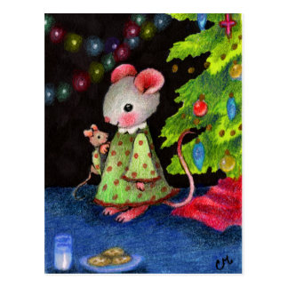 Waiting for Santa Mouse - Cute Christmas Art Postcard