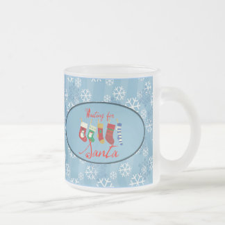 Waiting For Santa 10 Oz Frosted Glass Coffee Mug