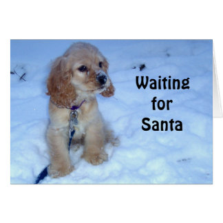 WAITING FOR SANTA-SNOWBOUND COCKER SPANIEL PUPPY CARD