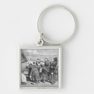 Waiting for the Boats Silver-Colored Square Key Ring