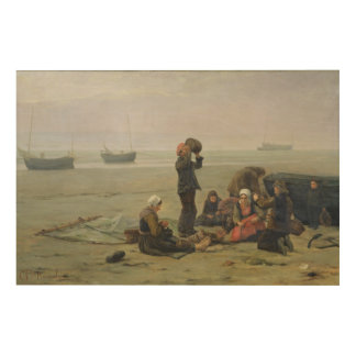 Waiting for the Fish, Berck-sur-Mer Wood Wall Art