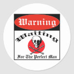 Waiting For The Perfect Man Classic Round Sticker