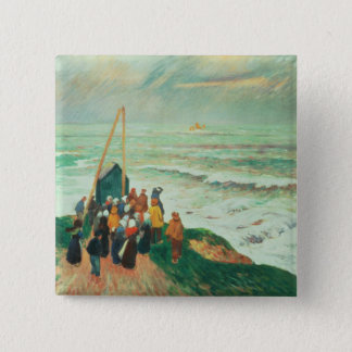 Waiting for the Return of the Fishermen 15 Cm Square Badge