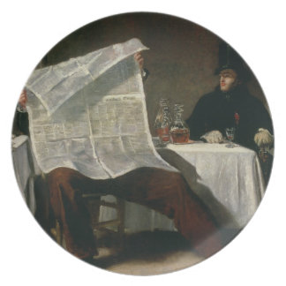 Waiting for the Times, 1831 (oil on canvas) Party Plates