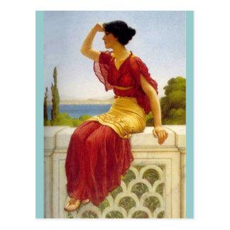 Waiting Greek Lady by Godward Postcard