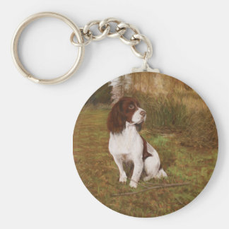 Waiting in the woods basic round button key ring