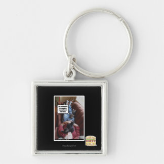 Waiting line for snuggles Silver-Colored square key ring