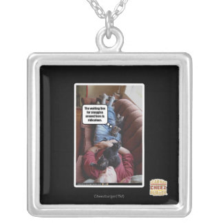 Waiting line for snuggles silver plated necklace
