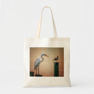 """""""Waiting on Sunset"""" - snowy egret tote Budget Tote Bag"""