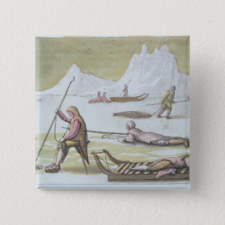 Waiting on the Ice, detail from Seal Hunting (colo 15 Cm Square Badge
