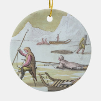 Waiting on the Ice, detail from Seal Hunting (colo Christmas Ornament