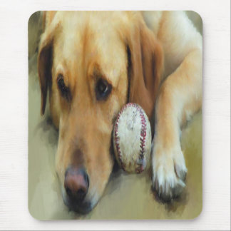 Waiting...  Yellow Lab Mouse Pad
