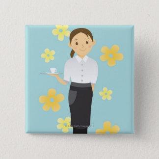 Waitress 15 Cm Square Badge