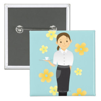 Waitress 15 Cm Square Badge